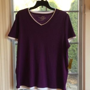 NEW NWT Purple Contrast Trim Workout shirt